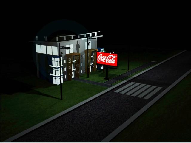modelo 3D Edificio iluminado - escuchar