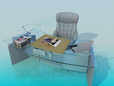 modelo 3D Mesa de trabajo y sillón - escuchar