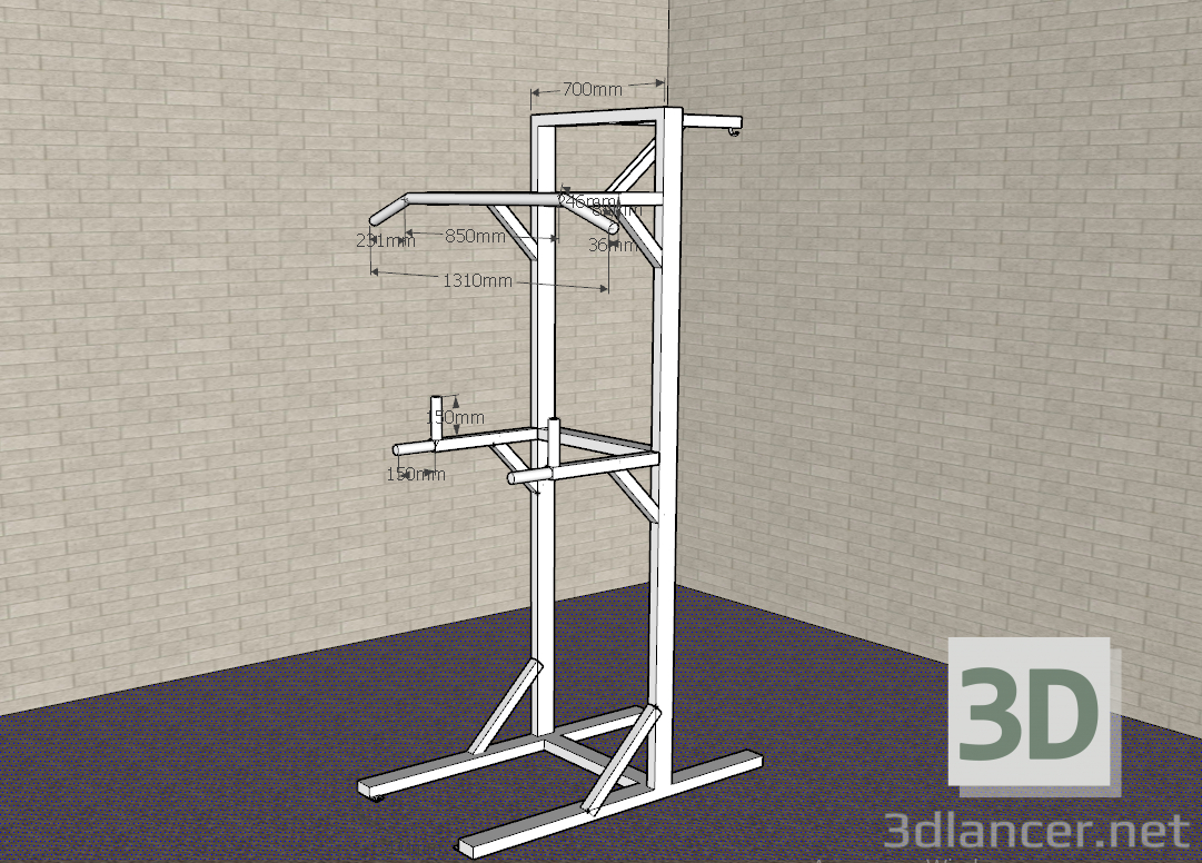 3d model Horizontal bar, simulator - preview