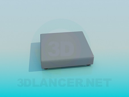 3d model Very low square ottoman - preview