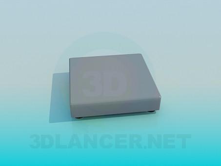 3d модель Очень низкий квадратный пуфик – превью