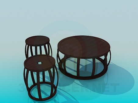 3d modeling Coffee table and chairs model free download
