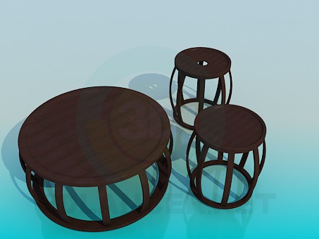 3d model Coffee table and chairs - preview
