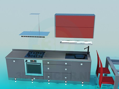 3d model Kitchen with dining table - preview