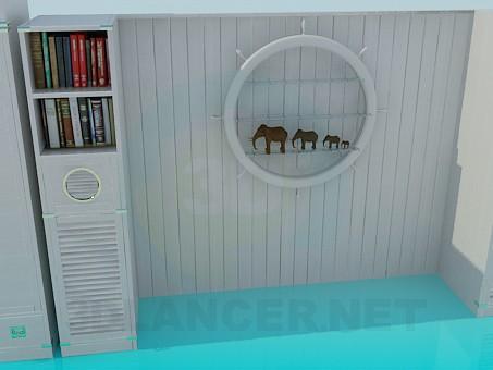 modelo 3D Un conjunto de muebles en la sala de estar - escuchar