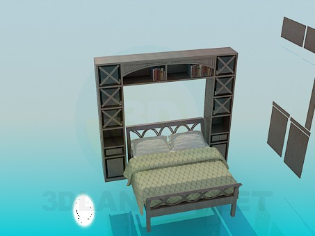 3d model Bed with cabinet - preview