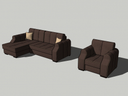 Soft sofa corner and armchair # 01