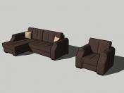 Soft sofa corner and armchair # 01