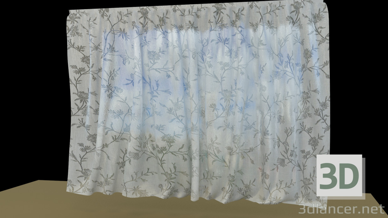 3d model Blinds-tulle with flowers - preview