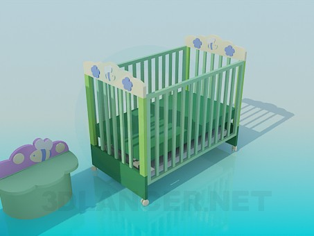 modelo 3D Un conjunto de muebles en el vivero - escuchar