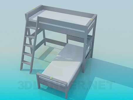 modelo 3D Cama de plataforma con las escaleras - escuchar