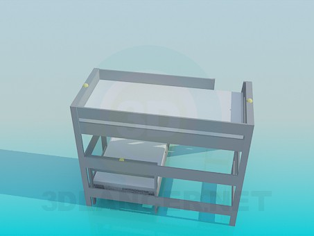 3d model Deck bed with stairs - preview
