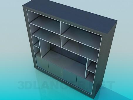 3d модель Шкаф с полками под ТВ – превью