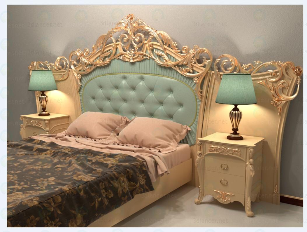 3d  Classic bed  model buy - render