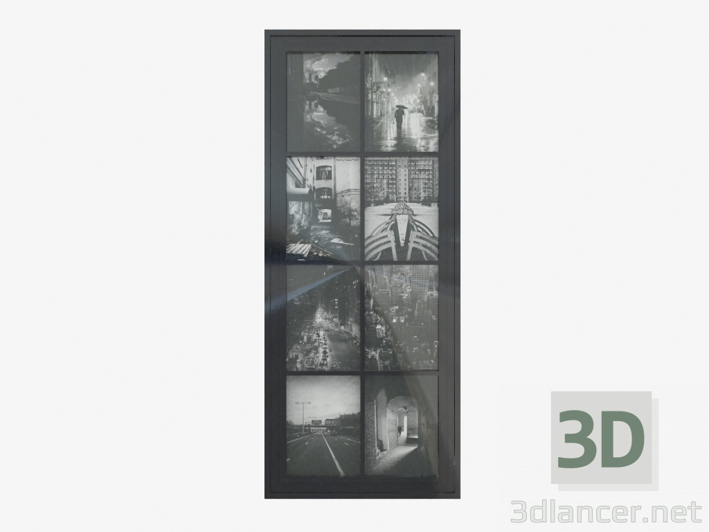 3d Model Wall Frame In The Form Of A Window For 8 Photos