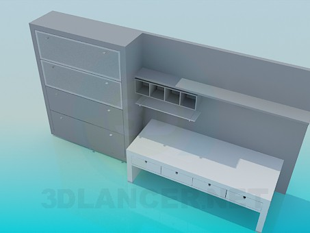 3d modeling Set of furniture for the workplace model free download