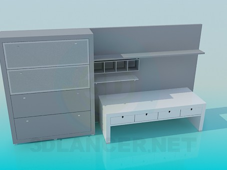 3d модель Набір меблів для робочого місця – превью