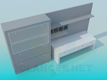 3d model Set of furniture for the workplace - preview