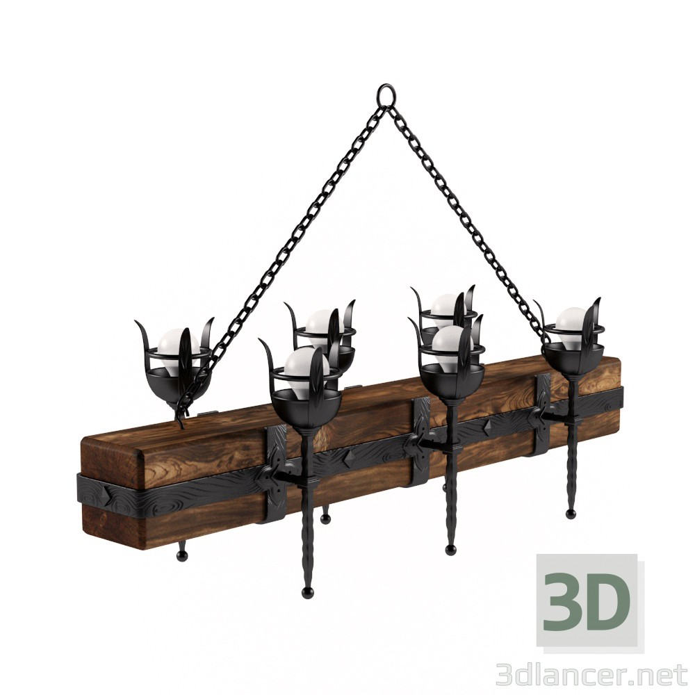 "3d model Chandelier Длань.рф Log with torches "" - preview"