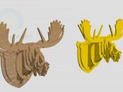 Cabeza de ciervo de madera contrachapada