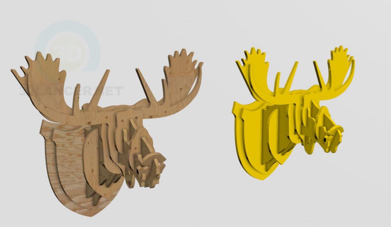 modelo 3D Cabeza de ciervo de madera contrachapada - escuchar
