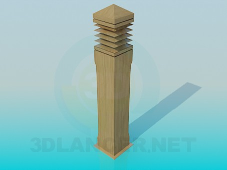 3d model Wooden pillar - preview