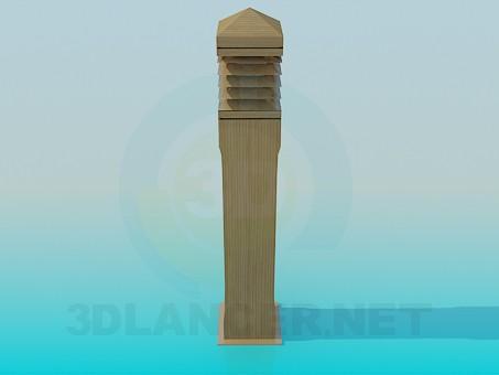 modelo 3D Pilar de madera - escuchar