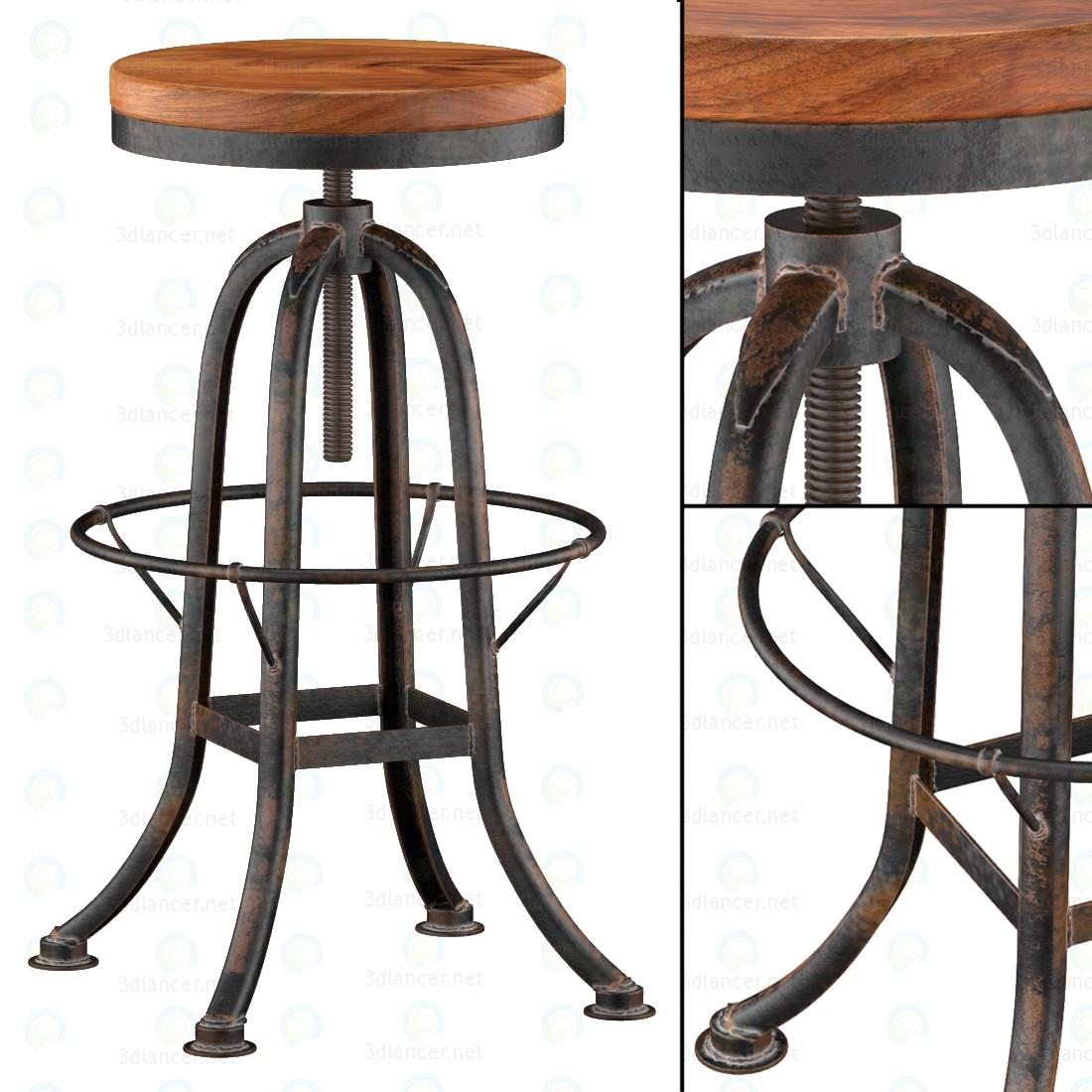 Стілець для барної стійки із заліза з деревяним сидінням 3d модель купити - рендер