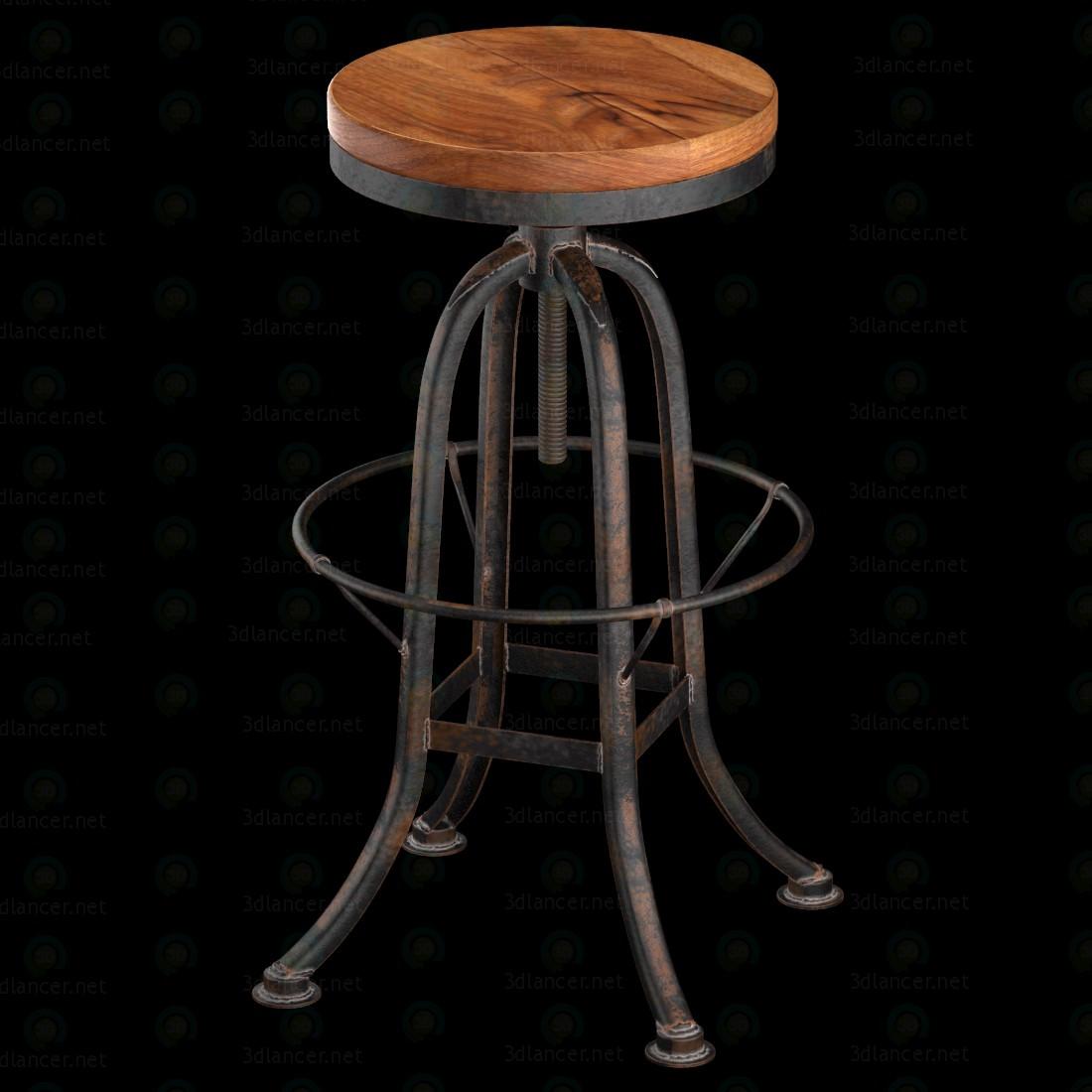 Loft industrial hierro Base reclamado madera contador de taburete de Bar  3D modelo Compro - render