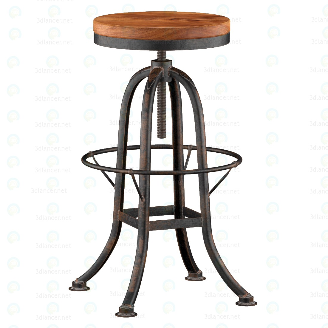 3d  Industrial loft Iron Base Reclaimed  Wood Bar Counter Stool  model buy - render