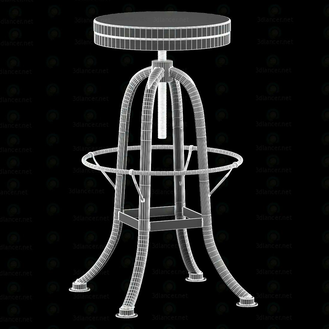 3d Стілець для барної стійки із заліза з деревяним сидінням модель купити - зображення
