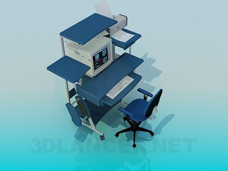 3d modeling Desk with a computer and peripherals model free download