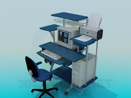 3d модель Стол с компьютером и переферией – превью