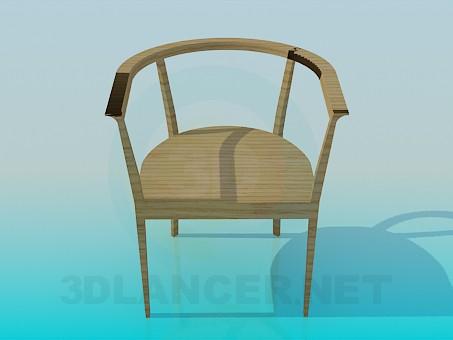 modelo 3D Silla de madera - escuchar