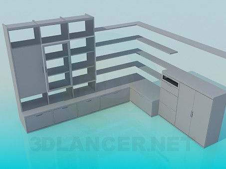 3d modeling Angular furniture wall-cabinet model free download