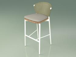 Bar stool 050 (Olive, Metal Milk, Teak)