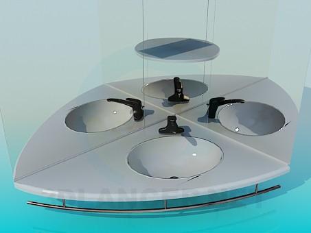modelo 3D Lavabo con los espejos - escuchar