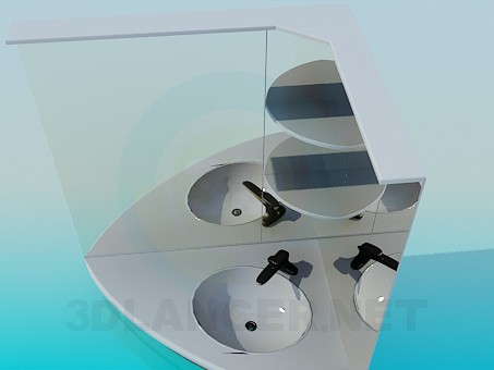 3d model Washbasin with the mirrors - preview