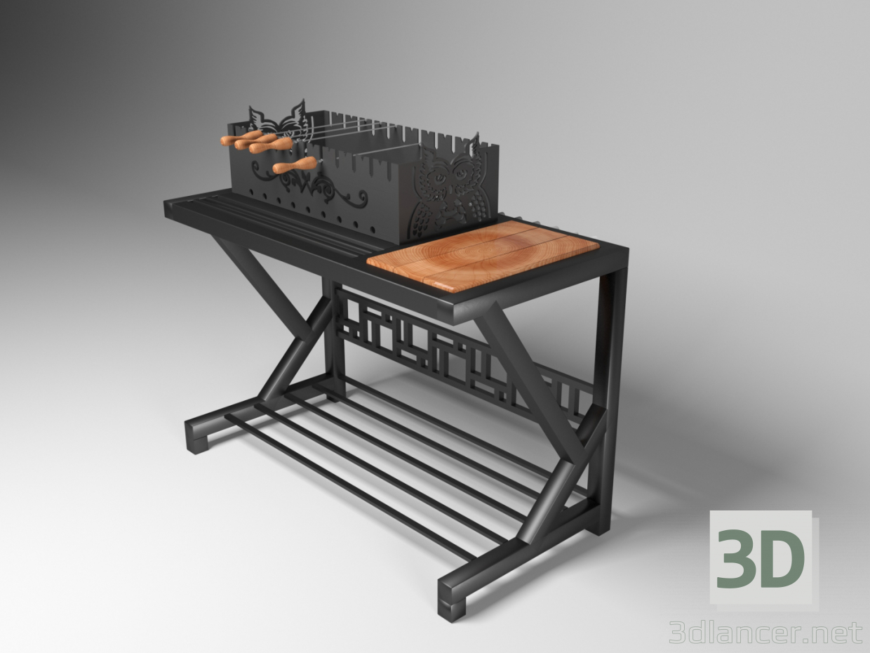 3d Barbecue grill model buy - render