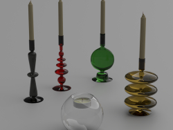 Bougeoirs et bougies en verre