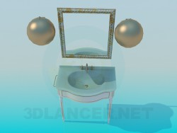 Washbasin with mirror