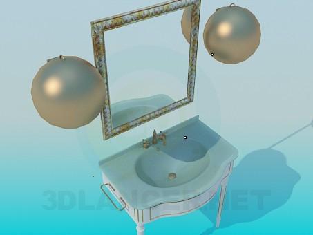 modelo 3D Lavabo con espejo - escuchar