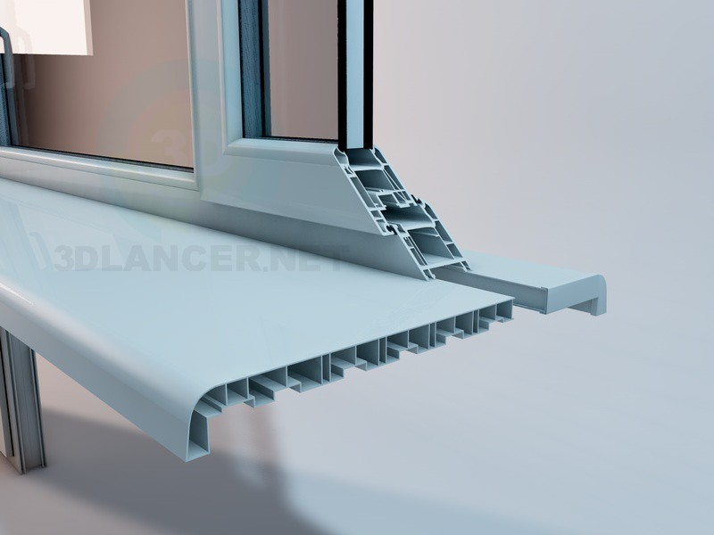 3d модель пластиковий балконний блок – превью