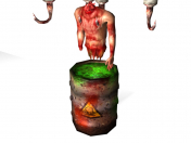 A barrel with a corpse. Lowpoly Horror Decoration