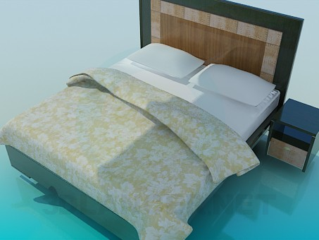 3d model Bed with cupboard - preview