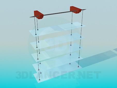 modelo 3D Estantes con bisagras con estantes de vidrio - escuchar