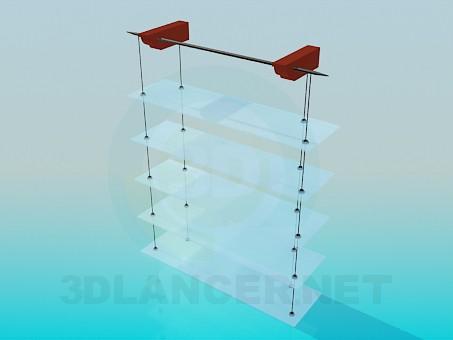 3d модель Навісний стелаж з скляними полицями – превью
