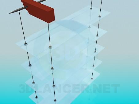 3d модель Навесной стеллаж со стеклянными полками – превью