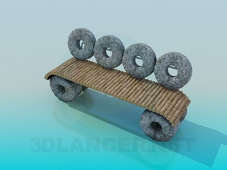 3d model An unusual stone bench - preview