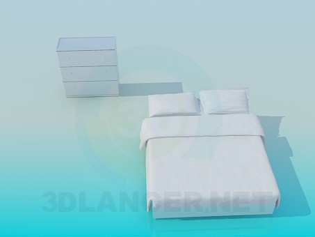 3d model Chest of drawers and bed - preview